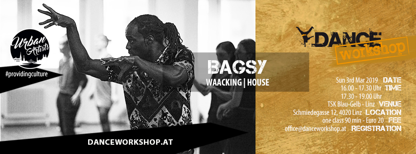DANCEworkshop with Bagsy | Waacking & House | 3. März 2019